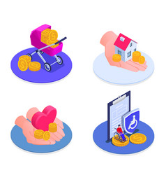 Social security isometric icons set vector