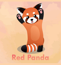 Standing cute red panda vector