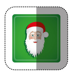 Sticker colorful square frame with christmas santa vector