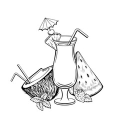 summer cocktail coloring book vector image