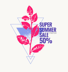 super summer sale abstract background with leaves vector image