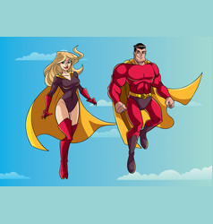 superhero couple flying in sky vector image