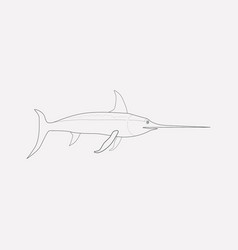 swordfish icon line element vector image