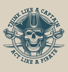 t-shirt design with a pirate skull and saber vector image
