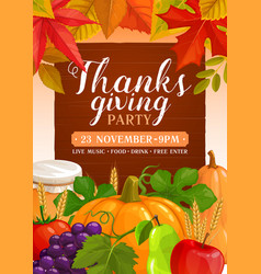 thanks giving party flyer with pumpkins vector image