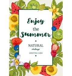Tropical Summer Exotic Menu Fruits Card vector image