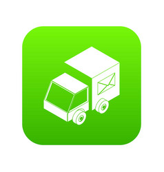 truck delivery icon green vector image