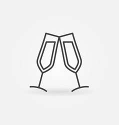 two wine glasses outline icon couple of vector image