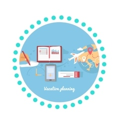 Vacation Planning Icon Flat Isolated Round vector