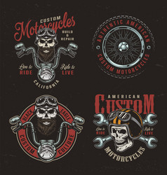 vintage colorful custom motorcycle logotypes vector image