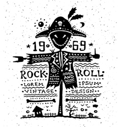 vintage grunge label with scarecrow vector image
