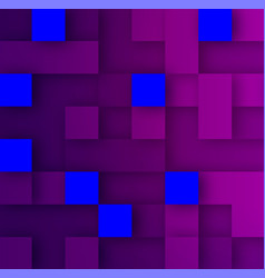 violet and blue squares backdrop with 3d effect vector image