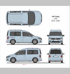 vw caddy life passenger van 2015-present vector image