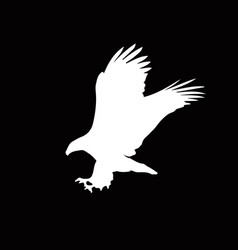 White silhouette of eagle isolated on black vector