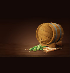 wood barrel with wheat and hops in 3d vector image