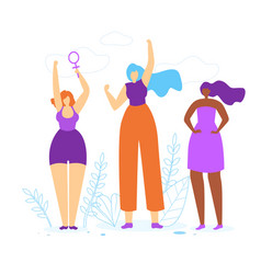 young girls with hands up woman empowerment idea vector image