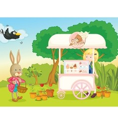 a girl and a cart stall vector image vector image