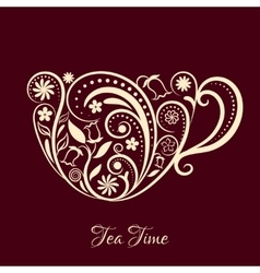 Beige Cup of Tea With Floral Design vector image