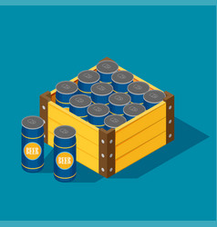 color isometric icon with case of beer vector image