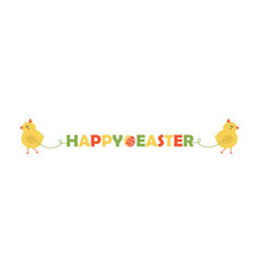 two cute baby chickens holding easter banner vector image