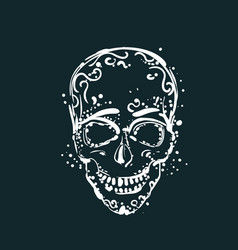 white skull tattoo on dark background mexican vector image