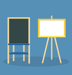wooden easel with blank canvas board for drawing vector image vector image
