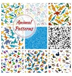 Cartoon pattern of dinosaurs fishes birds vector image