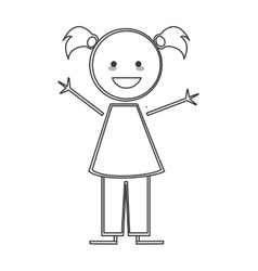 happy girl with pigtails icon stick figure vector image vector image