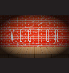 old brick wall with wooden scene vignettes vector image vector image