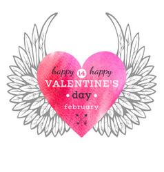 watercolor heart card vector image