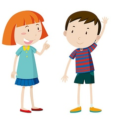 Girl and boy chatting vector