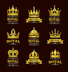 Golden royal quality crown logo templates vector