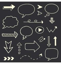 Hand drawn arrows speech bubble sketch set vector image