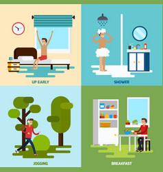 morning character icon set vector image