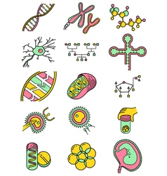 science icons set with genetic and microbiologic o vector image