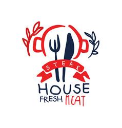 steak house logo fresh meat vintage label vector image vector image