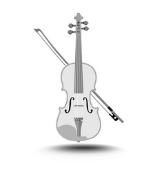 violin with fiddlestick gray drawing on white vector image