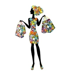 woman in flowers who go shopping vector image