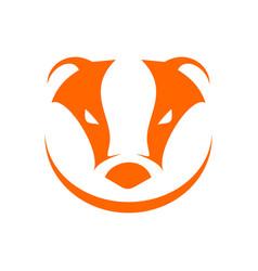 badger head orange simple symbol logo design vector image