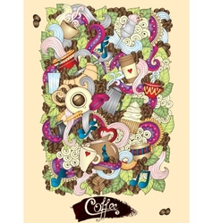 Coffee Doodles Hand-Drawn vector image