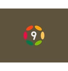Color number 9 logo icon design hub frame vector