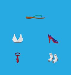 flat icon garment set of cravat foot textile vector image vector image