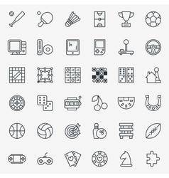 Game line icons set vector image