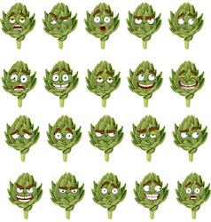 green fresh useful eco friendly artichoke smiles vector image vector image