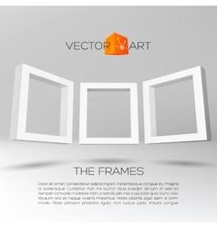 Three white rectangular 3D frames vector image vector image