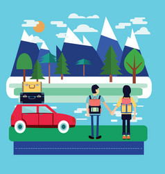 travel car with luggage and couple of traveler vector image vector image