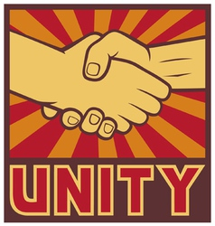unity poster - handshake unity design vector image vector image