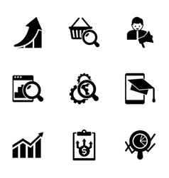 9 chart filled icons set isolated on white vector