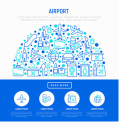Airport concept in half circle with thin line icon vector