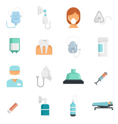 Anesthesia icons set flat isolated vector
